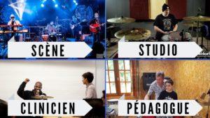batteur scène, studio, clinicien, pédagogue